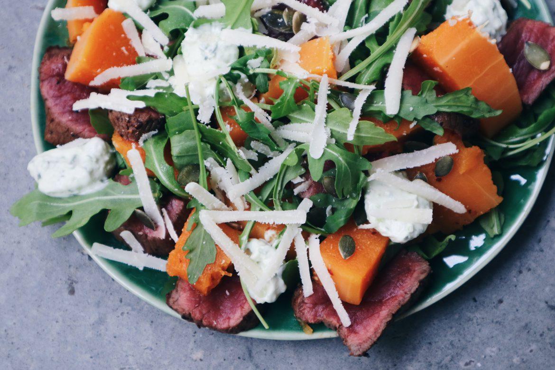 Salade pompoen biefstuk